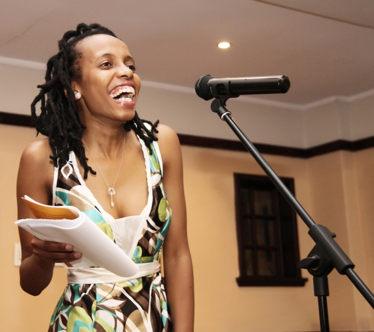 "Akhona Metu Reading extracts from her poetry book titled "" A gift of a thousand words"""