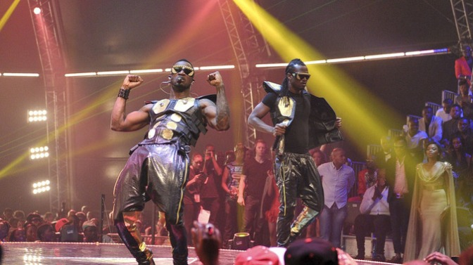 Nigerian R&B duo P-SQUARE, doing their thing at the 2013 Channel O African Video Awards in Kliptown Soweto.