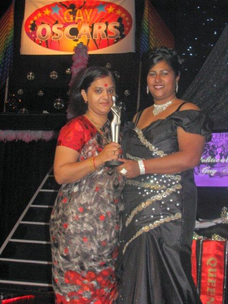 And the  oscar goes to: Minority Front Leader, Shameem Rajbansi at the Gay Oscars in Durban, sometime ago.
